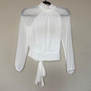 REBECCA MINKOFF White Button Tie Back Blouse XXS